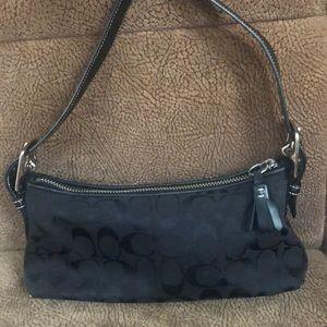 Signature black canvas Coach small handbag